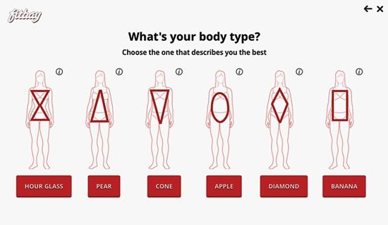 Trên Fitbay, người mua hàng nhập các thông số về cơ thể để chọn mua quần áo, giày dép hợp với hình dáng của mình.