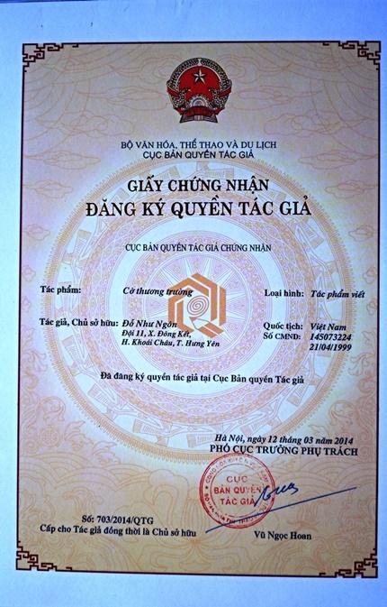 Giấy chứng nhận bản quyền tác giả đối với cờ thương trường của tác giả Đỗ Như Ngôn.