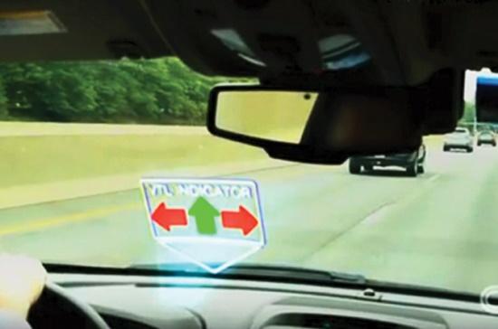 Đèn giao thông ảo xuất hiện lên mặt kính chắn gió, thay cho hệ thống đèn lắp sẵn trên đường.