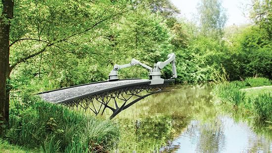 Robot bắc cầu qua sông bằng kỹ thuật in 3D.