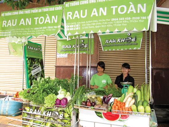 Một quầy rau an toàn tại thành phố Cần Thơ.