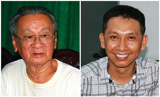 Soạn giả kịch Lê Hữu Thành (trái) và soạn giả kịch Huỳnh Tuấn Anh.