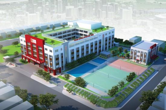 Phối cảnh trường liên cấp Riverside Mega Campus tại khuôn viên Khu dân cư Cityland Riverside, quận 7.